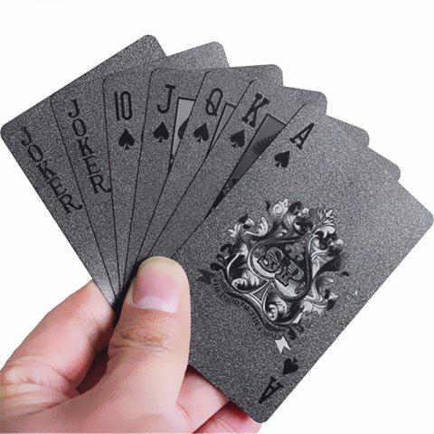 54PCS Durable Waterproof Black Gold Foil Poker Playing Card Deck Gift Board Game - BLACK