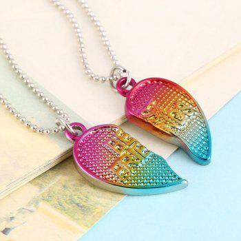 Best Friendship Jewelry Heart Pendant Kids Necklaces - ROSE RED 2PCS
