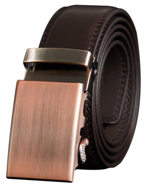 COWATHER CZ122 Gold Buckle Automatic Buckle Casual Fashion Business Pants Belt - BROWN 110CM