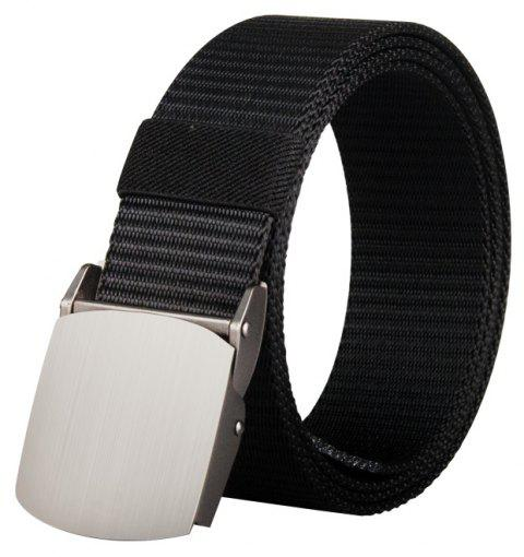 COWATHER Joker Simple Nylon Fashion Casual Silver Buckle Canvas Belt - BLACK 110CM