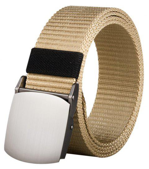 COWATHER Joker Simple Nylon Fashion Casual Silver Buckle Canvas Belt - BEIGE 170CM