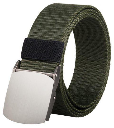 COWATHER Joker Simple Nylon Fashion Casual Silver Buckle Canvas Belt - ARMY GREEN 110CM
