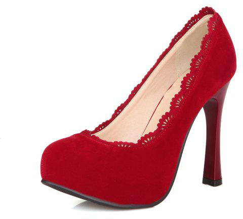 High Heeled Round Head Ruffled Lotus Leaf Red Wedding Banquet Shoes - LAVA RED EU 42
