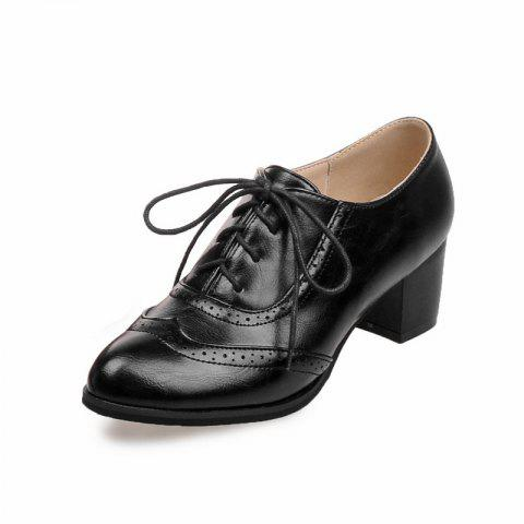 Women Shoes with Medium Round Head Middle Opening - BLACK EU 37