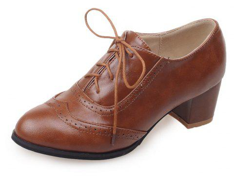 Women Shoes with Medium Round Head Middle Opening - BROWN EU 35