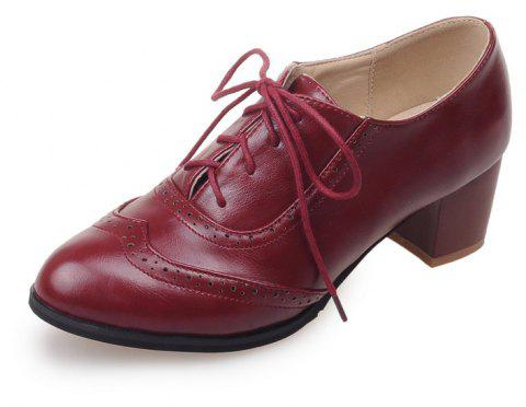 Women Shoes with Medium Round Head Middle Opening - RED WINE EU 38