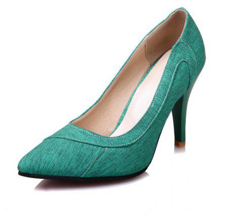 High Heeled Pointy Cloth Dinner Party Women Shoes - LIGHT SEA GREEN EU 45