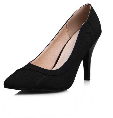 High Heeled Pointy Cloth Dinner Party Women Shoes - BLACK EU 38