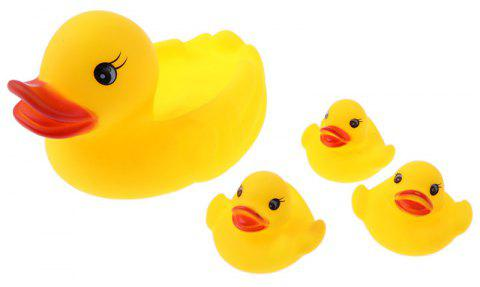 4PCS Lovely Small Yellow Ducks Swimming Fun Novelty Toy - YELLOW