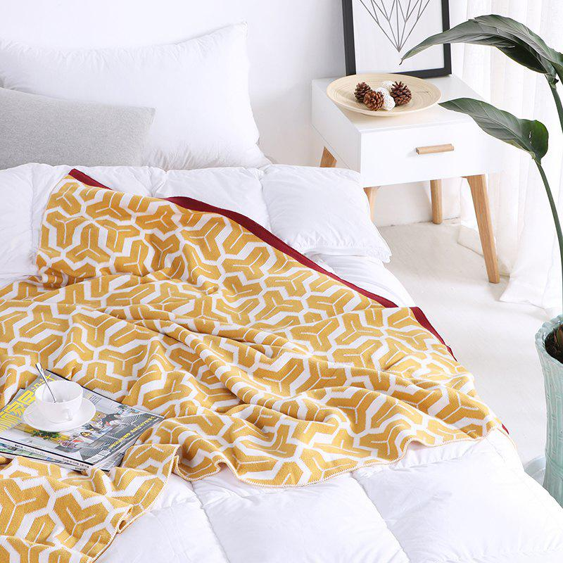 Decorative Throw Blanket Textured Solid Soft for Sofa Couch Cozy Knitted - BEE YELLOW