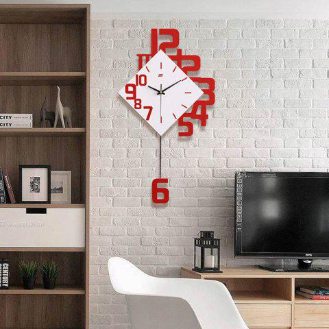 Modern / Contemporary Wood Novelty AA Batteries Powered  Wall Clock - LAVA RED