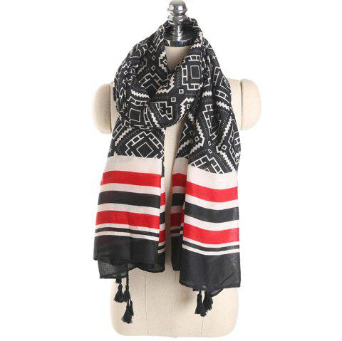 New Luxury Autumn Cotton Scarf with Stripe and Tassel Printing for Women Gift - BLACK