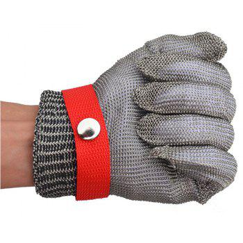 Brushed Stainless Steel Mesh Cut Resistant Chain Mail Anti Cut Gloves - RED