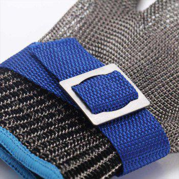 Brushed Stainless Steel Mesh Cut Resistant Chain Mail Anti Cut Gloves - BLUE
