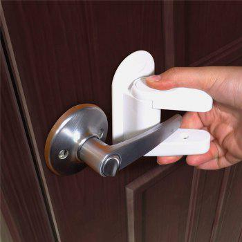 2 Pcs Gate Lever Lock Child Proof Doors Handles for Prevention Baby Safety - WHITE