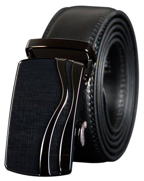 COWATHER CZ123 Leather Automatic Buckle Casual Fashion Business Belt - BLACK 125CM