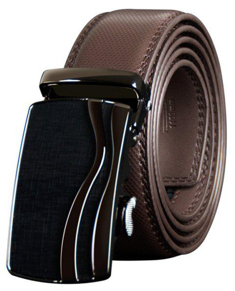 COWATHER CZ123 Leather Automatic Buckle Casual Fashion Business Belt - DEEP BROWN 130CM
