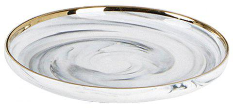 Originality Golden Edge Marbling Ceramics Dinner Plate Household Tray - SILK WHITE L