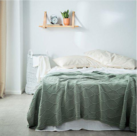 Cotton Throw Blanket Couch Canapé Chaise Doux Chaud Câble Tricot Couvertures Décoratives - Vert Mer