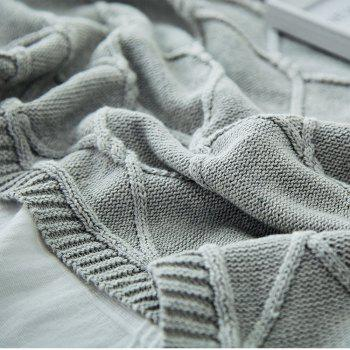 Cotton Throw Blanket Couch Sofa Chair Soft Warm Cable Knit Decorative Blankets - LIGHT SLATE GRAY