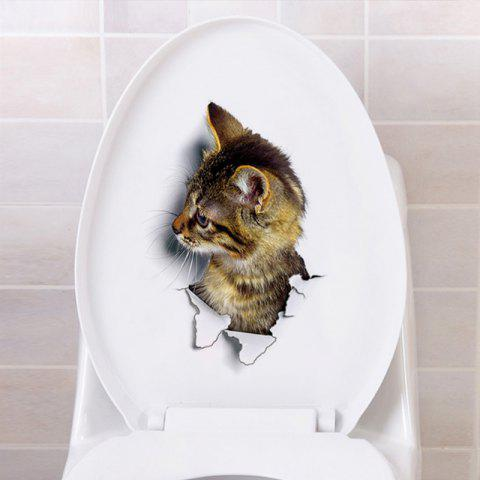 Lovely Cat PVC Toilet Wall Sticker - multicolor C