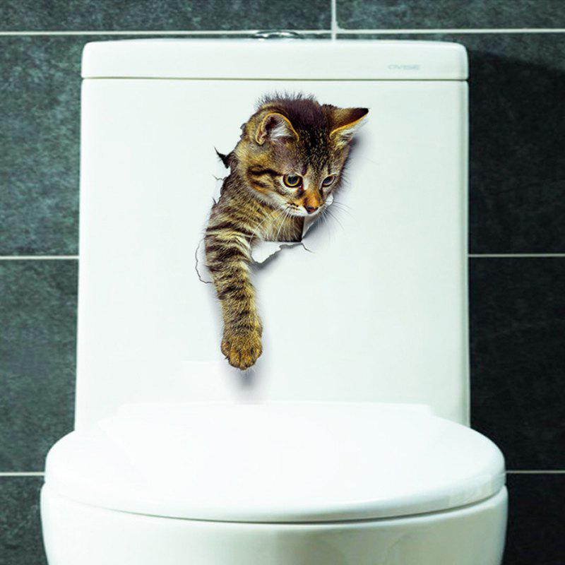 Lovely Cat PVC Wall Sticker Toilette - multicolor A
