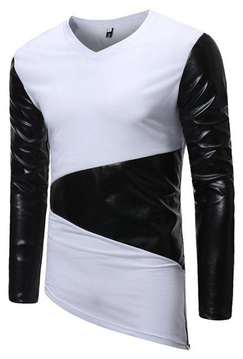 Men's Fashion Small V-neck Leather Casual Long-sleeved T-shirt - WHITE L