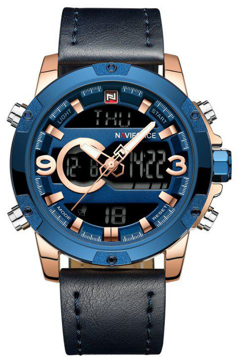 NAVIFORCE Luxury Brand Men Analog Digital Leather Sports Watches - BLUE