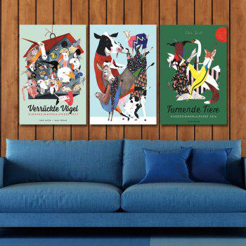 DYC 3PCS Cute Cartoon Funny Art Print Art - multicolor