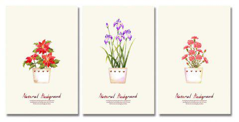 DYC 3PCS Flower Potted Plants Print Art - multicolor
