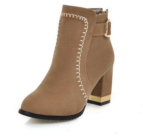 d924f16b9e4 Zip Round Toe Chunky Heel Ankle Boots