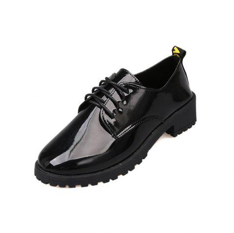 Lace Up Flat Bottomed Casual Shoes - BLACK EU 36