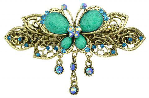 Fashion Colorful Meta Hollow-out Butterfly Gemstone Hairpin - multicolor A
