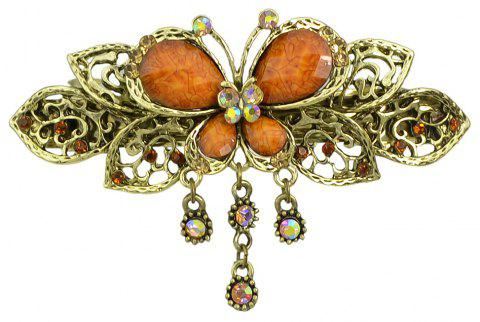 Fashion Colorful Meta Hollow-out Butterfly Gemstone Hairpin - multicolor B
