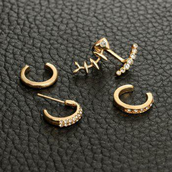 4pcs All Drilled Women Casual Party Fashion Earrings - GOLD