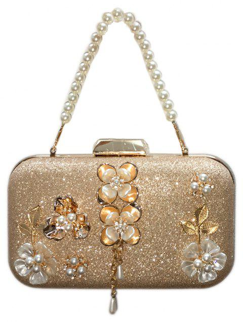 Women's Leatherette Evening Bag Appliques Detailing for Wedding Event - CHAMPAGNE GOLD