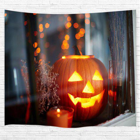 Windowsill Pumpkin 3D Printing Home Wall Hanging Tapestry for Decoration - multicolor W230CMXL180CM