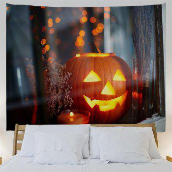 Windowsill Pumpkin 3D Printing Home Wall Hanging Tapestry for Decoration - multicolor W153CMXL102CM