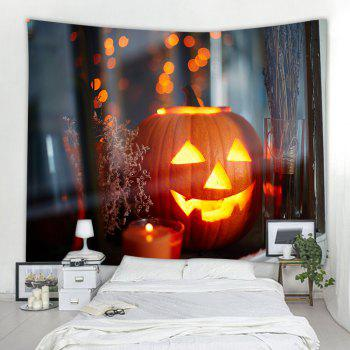 Windowsill Pumpkin 3D Printing Home Wall Hanging Tapestry for Decoration - multicolor W153CMXL130CM