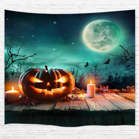 Wooden Pumpkin Candle 3D Printing Home Wall Hanging Tapestry for Decoration - multicolor W153CMXL130CM