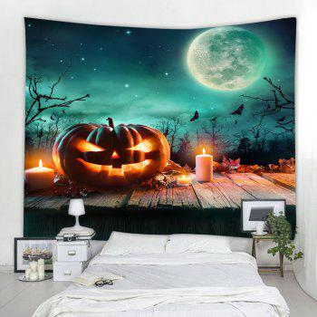 Wooden Pumpkin Candle 3D Printing Home Wall Hanging Tapestry for Decoration - multicolor W153CMXL102CM
