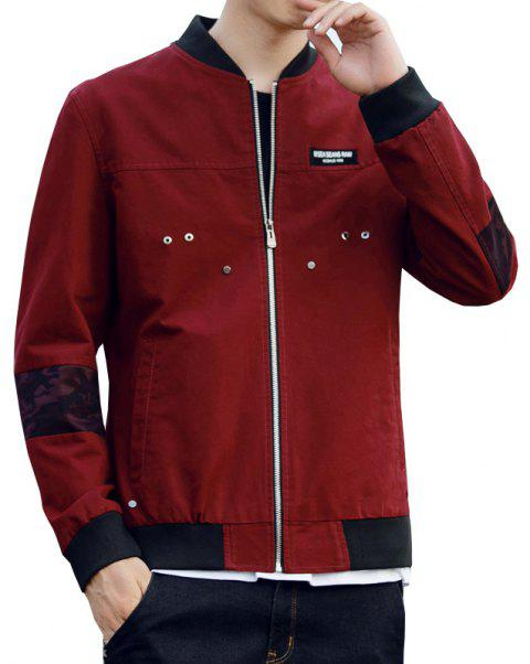 Men'S Slim Autumn Winter Washed Cotton Jacket - RED WINE 2XL