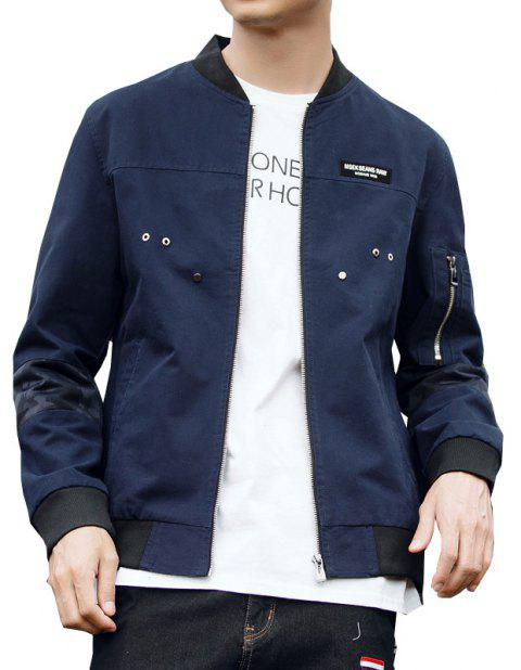 Men'S Slim Autumn Winter Washed Cotton Jacket - DEEP BLUE 2XL