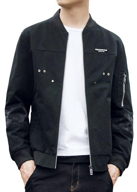 Men'S Slim Autumn Winter Washed Cotton Jacket - BLACK L