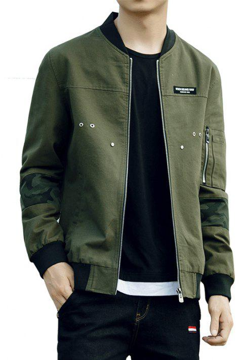 Men'S Slim Autumn Winter Washed Cotton Jacket - ARMY GREEN L