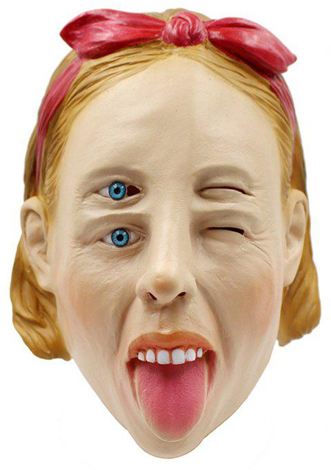 Halloween Whimsy Woman Latex Head Mask - multicolor