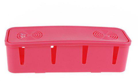 Enerhu Cord Socket Storage Box Power Strip Cover Management Organizer - ROSE RED