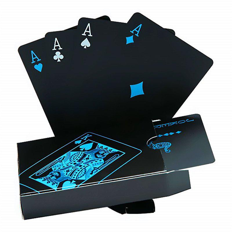 Creative Black Water-resistant PVC Poker Playing Cards Table Game Set - BLACK