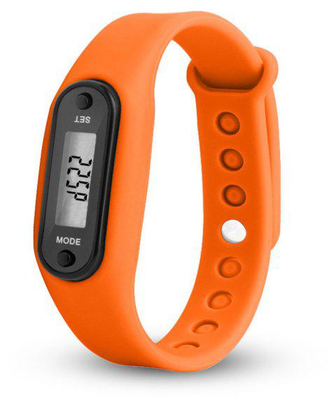 Sport Watch Digital LCD Silicone Band Pedometer Distance Calorie Counter - ORANGE