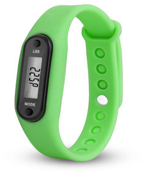 Sport Watch Digital LCD Silicone Band Pedometer Distance Calorie Counter - GREEN